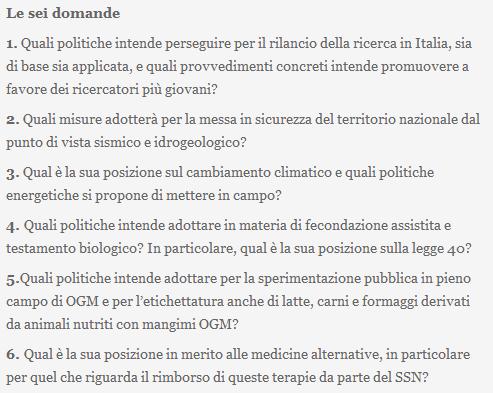 Le domande di Dibattito Scienza del 15 novembre 2012